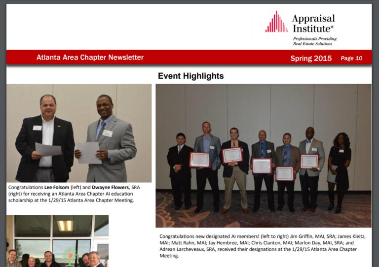 Appraisal Institute – Atlanta Area Chapter Newsletter Spring 2015